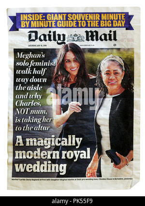 Front page of the Daily Mail with the headline A Magically Modern Royal Wedding, about the marriage of Prince Harry and Meghan Markle - Stock Photo