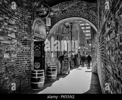 Dublin, Ireland, March 2018, outside the Merchant's Arch restaurant in a alley of the Temple Bar district - Stock Photo