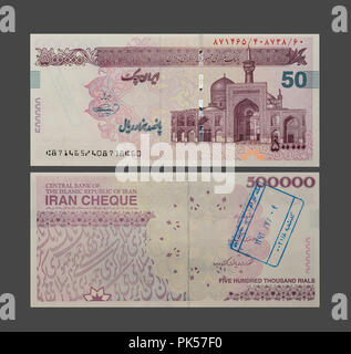 500000 Iranian Rials Bill, Rial Is the National Currency of Iran, Clipping Path Included. - Stock Photo