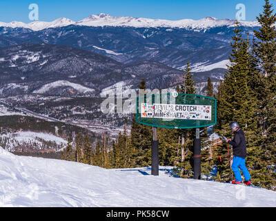 Devil's Crotch and Mine Shaft trail sign atop Peak 9, Breckenridge Ski Resort, Breckenridge, Colorado. - Stock Photo
