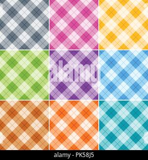 Seamless argyle patterns / textures in different colors for Thanksgiving, home decorating, napkins, tablecloths, picnics. arts, crafts and scrap books - Stock Photo