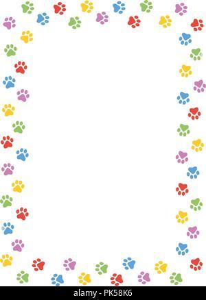 Colorful dog paw print frame / border on white background - Stock Photo