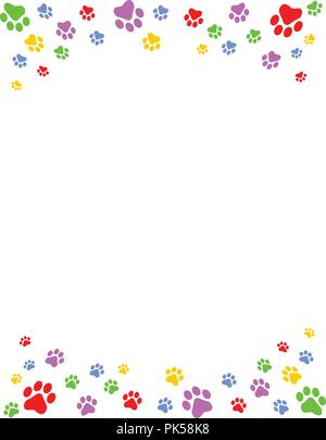 Colorful dog paw prints top and bottom border / header and footer on white background - Stock Photo