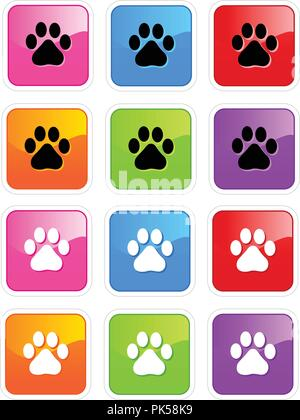 Cute pets [dogs and cats] paw print web icons isolated on white background - Stock Photo