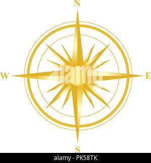 Illustration of a gold compass with all directions north east south and west isolated on white background. - Stock Photo