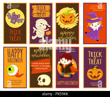 Set of vector Halloween with cartoon characters. Poster for scrapbooking. Vector template card for greeting, decoration, congratulation, invitation. E - Stock Photo