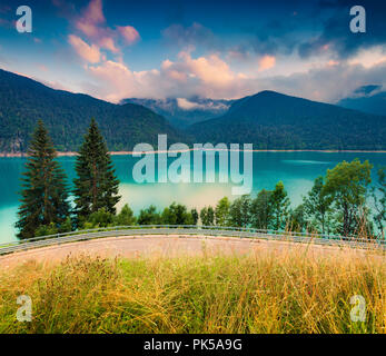 Colorful scene on the lake Sauris in the Dolomites mountains, Italy, Europe. - Stock Photo