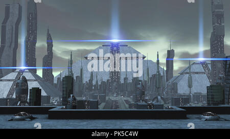 3D rendering of a futuristic ancient city - Stock Photo