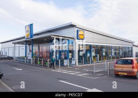 Lidl supermarket at Great Torrington, North Devon, England, United Kingdom. - Stock Photo