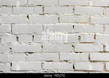 Painted white brick surface, urban background. Graphic grunge texture. For abstract backdrop, pattern, banner design Stock Photo