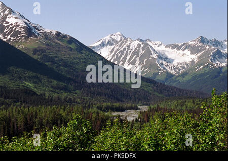 Gorgeous scenery through the Alaskan wilderness, from a train, in the short summer time. - Stock Photo