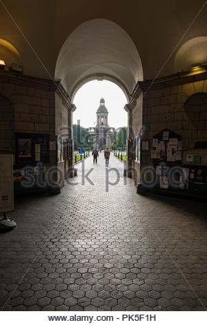 The Campanile of Trinity College seen from the main archway in Regent House, Trinity College Dublin, Dublin, Leinster, Ireland - Stock Photo