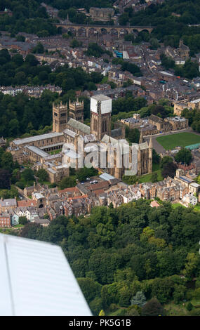 Ariel photograph taken from light aircraft of Durham Cathedral - Stock Photo