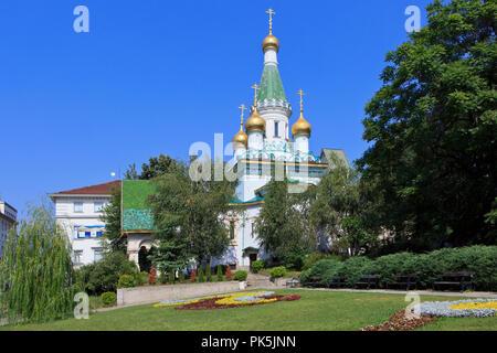 The Eastern Orthodox Church of St Nicholas the Miracle-Maker - aka Russian Church (1914) in Sofia, Bulgaria - Stock Photo
