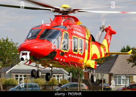 Herts and Essex Air Ambulance. Agusta Westland AW169 Serial 69049 Register G-HHEM used by UK Air Ambulances Specialist Aviation Services. - Stock Photo