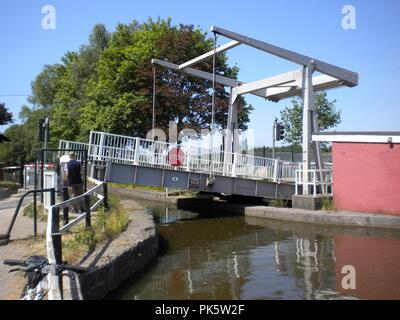 Around the UK - Lift Bridge on The Leeds Liverpool Canal - Stock Photo