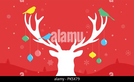 Merry Christmas banner, Xmas template background with deer silhouette, vector illustration - Stock Photo