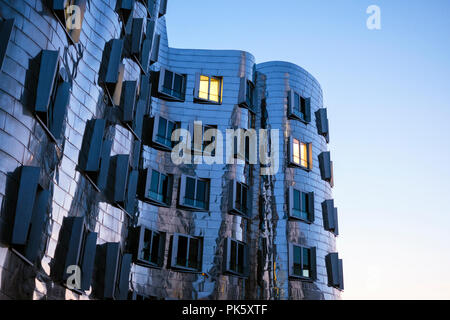 Neuer Zollhof building complex, Düsseldorf, Germany. The ensemble was designed by Frank O. Gehry and completed in 1998. - Stock Photo