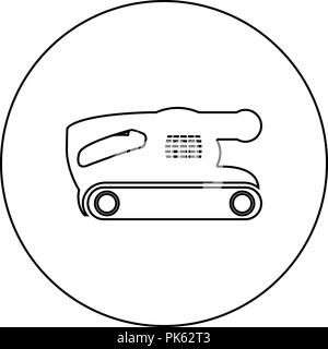 Belt sanding machine for grain finishing held polishing power tool icon black color in round circle outline vector I - Stock Photo