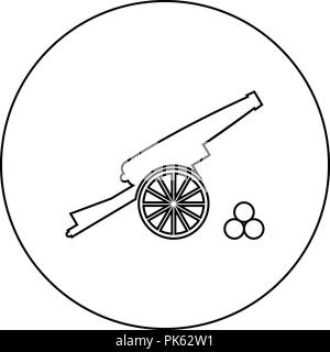 Medieval cannon firing cores icon black color in round circle outline vector I - Stock Photo