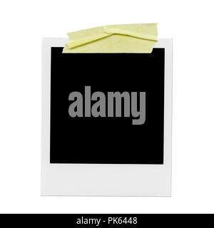 XXXL Ð blank polaroid photo. Isolated vintage frame with yellow tape - Stock Photo
