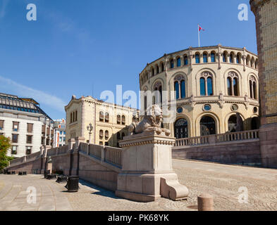 Lion statue at the Storting building (Stortingsbygningen),  the seat of the Storting, the parliament of Norway,  Central Oslo, Norway, Scandinavia - Stock Photo