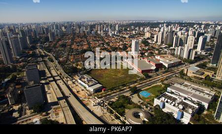 Construction of the monorail system, Journalist Roberto Marinho Avenue, Sao Paulo, Brazil.