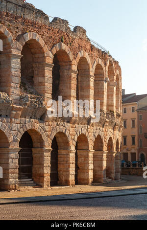 The Verona Arena (Arena di Verona) is a Roman amphitheatre in Piazza Bra. Italy. - Stock Photo