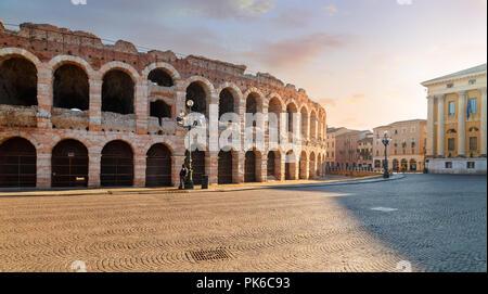 The Verona Arena (Arena di Verona) is a Roman amphitheatre in Piazza Bra. Italy. - Stock Photo