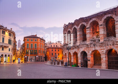 Morning in the streets of Verona near the Coliseum Arena di Verona. Italy. - Stock Photo