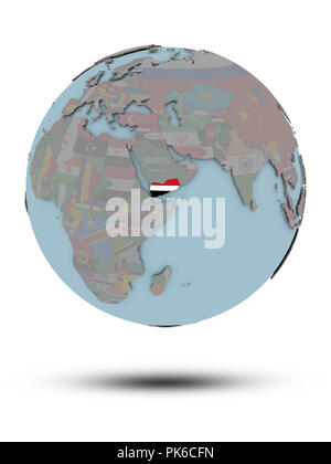 Yemen with national flag on political globe with shadow isolated on white background. 3D illustration. - Stock Photo