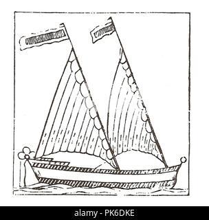 Bermuda rig - 17th Century woodcut. - Stock Photo