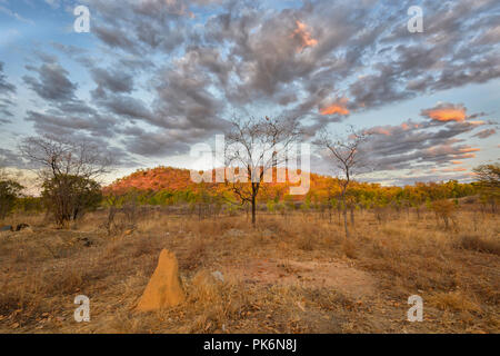 Atmospheric Sunrise in the Outback at Chillagoe, Northern Queensland, QLD, Australia - Stock Photo
