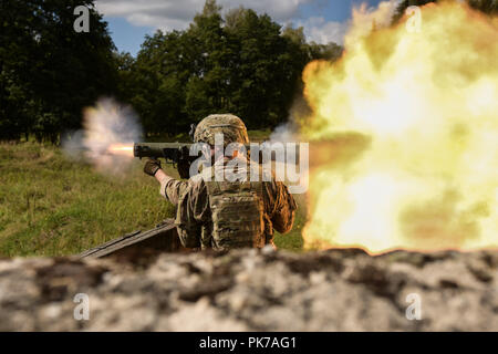 Grafenwoehr, Germany. 10th Sep, 2018. U.S. Soldiers assigned to the 1st Battalion, 503rd Infantry Regiment, 173rd Airborne Brigade engaged targets with the Carl Gustaf 84mm weapon system in Grafenwoehr, Germany, Sept. 8, 2018, during Saber Junction 18. Exercise Saber Junction 18 is a U.S. Army Europe-directed exercise designed to assess the readiness of the 173rd Airborne Brigade to execute unified land operations in a joint, combined environment and to promote interoperability with participating allies and partner nations. (U.S. Army photo by Capt. Joseph Legros) U.S. Department of Def - Stock Photo
