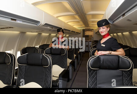 Biggin Hill,UK,11th September 2018,Interior of a Boeing737 on display at Air Charter Expo 2018 which took place at Biggin Hill Airport, Kent. It is an event for the business air charter industry worldwide with a dedicated conference and exhibitions and presents top-level meetings, latest charter aircraft, a host of exhibitors and excellent networking opportunities. Credit Keith Larby/Alamy Live News - Stock Photo