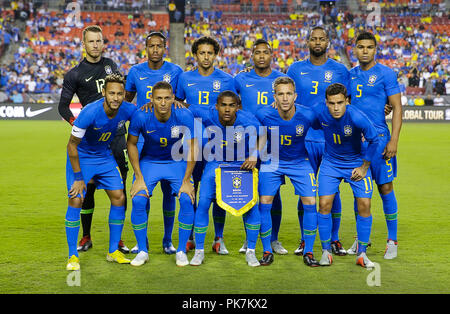 Washington DC, USA. 11th Sep, 2018. The Brazilian starting eleven before an International friendly soccer match between Brazil and El Salvador at Fedex Field in Washington DC. Justin Cooper/CSM/Alamy Live News - Stock Photo