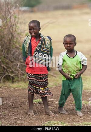 Masai children Masai Mara Kenya East Africa - Stock Photo