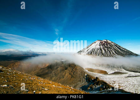 Majestic volcanic valley, the Devil's Staircase and famous Mount Ngauruhoe, Spectacular scenic view from the South Crater, tramping in New Zealand - Stock Photo
