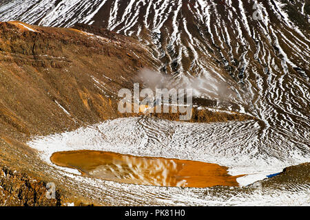 Beautiful sulphide water with mirror reflection of the snow covered volcano, detail view of Mount Ngauruhoe and the ancient wrinkled volcanic terrain - Stock Photo