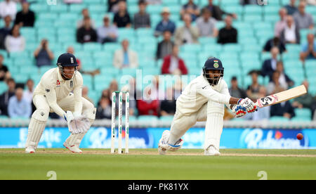 India's KL Rahul (right) during the test match at The Kia Oval, London. - Stock Photo