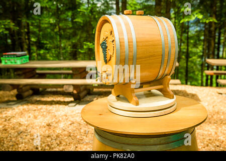 Outdoors Indie Wedding Wine Barrel on Wooden Barrel - Stock Photo