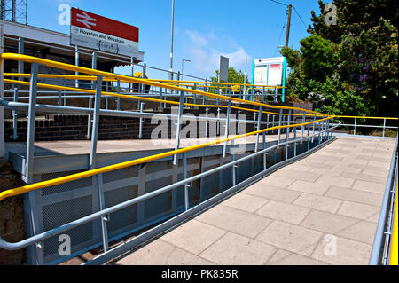 Wheelchair access ramp at Hoveton & Wroxham railway station Norfolk UK - Stock Photo