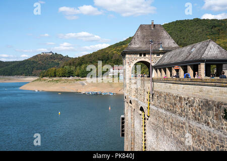 Dam of Lake Edersee at low tide, Hesse, Germany, Europe - Stock Photo