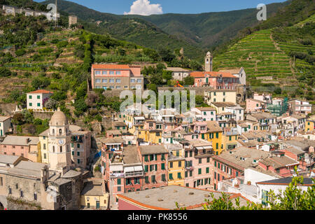 Village of Vernazza viewed from Castello Doria (Doria Castle), one of Cinque Terre 5 villages, Liguria, Italy - Stock Photo