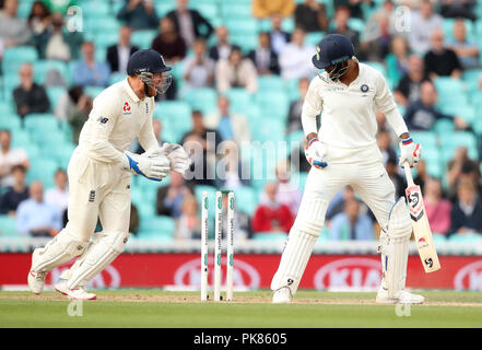 India's KL Rahul is bowled by England's Adil Rashid during the test match at The Kia Oval, London. - Stock Photo