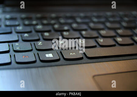Close up view of a laptop keyboard with the symbol of Windows - Stock Photo