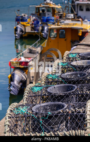 Fishing boats bringing in their catch Saundersfoot Harbour Pembrokeshire Walesvertical - Stock Photo