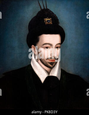 King Henry III of France (1551-1589), anonymous, oil on wood - Stock Photo