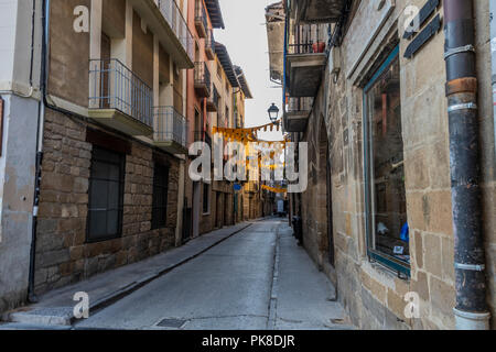 Typical street in the medieval city of Olite. Navarre Spain. - Stock Photo