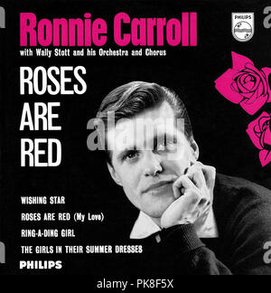 UK 45 rpm 7' EP by Ronnie Carroll titled Roses Are Red on the Philips label from 1962. Includes the songs Wishing Star, Roses Are Red (My Love), Ring-A-Ding Girl and The Girls In Their Summer Dresses. Arranged by Wally Stott (who later became Angela Morley) and produced by Johnny Franz. - Stock Photo